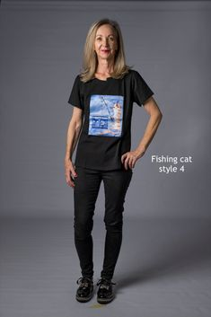 Limited edition hand finished t-shirts with a cat theme in two colours - fabric 95% cotton and 5% spandex