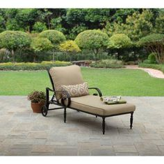 Better Homes and Gardens Englewood Heights Chaise Lounge, Black. Englewood Heights Chaise Lounge includes 1 cushioned chaise lounge chair and 1 lumbar pillow Outdoor Dining Set, Outdoor Living, Outdoor Decor, Dining Sets, Outdoor Seating, Outdoor Spaces, Deck Furniture, Outdoor Garden Furniture, Modern Furniture