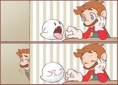 Boo is playing with Mario while Luigi is watching them..: