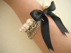 diy pearl and chain bracelet