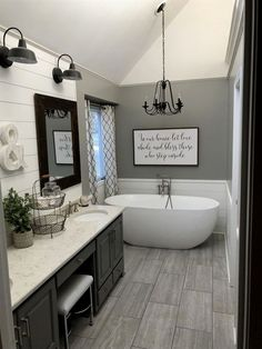 Master bath farmhouse style #BathroomRemodeling #RemodelingGuide