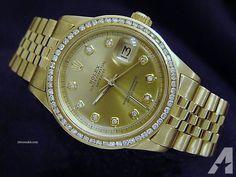 Rolex Solid 18k Yellow Gold Datejust Watch Diamond