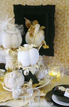 HOMEWARDfound Decor: Black, White & Tan Thanksgiving Table