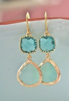 Pastel Turquoise Jewelled Drop Dangles