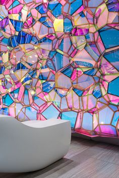 "NYCbased design studio SOFTlab was commissioned by One State Street to design a permanent wall installation to accompany the building's new lobby renovation ""Our intent was to create an installation that is not only a part of the architecture bu - # Interior Architecture, Interior And Exterior, Street Installation, Deco Originale, Deco Design, Design Design, Light Art, Glass Art, Creations"