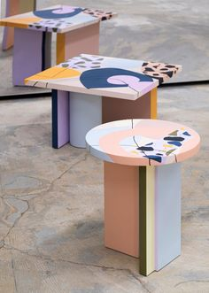 Contemporary Furniture, Contemporary Design, Table Furniture, Furniture Design, Cement Art, Pop Art Design, Geometric Form, Low Tables, Vibrant Colors
