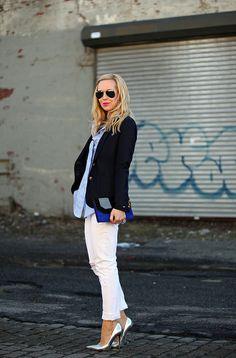 blazer + white pants + metallic pumps