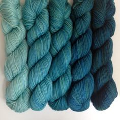 SweetGeorgia Party of Five Yarns Gradient Mini Skein Sets. This color range is called Sea to Sky - perfect!