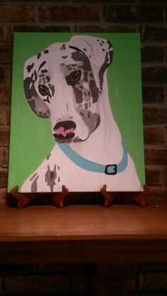 A beautiful great dane dog painting on a large 16x20 inch canvas