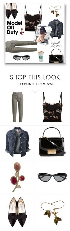 """""""Model Off Duty Style"""" by tre0911 ❤ liked on Polyvore featuring RED Valentino, La Perla, Tory Burch, Luxiro, GUESS by Marciano and Jimmy Choo"""