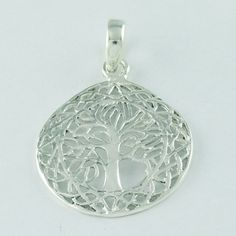 PLAIN SILVER TREE OF LIFE DESIGN 925 SOLID STERLING SILVER PENDANT #SilvexImagesIndiaPvtLtd #Pendant