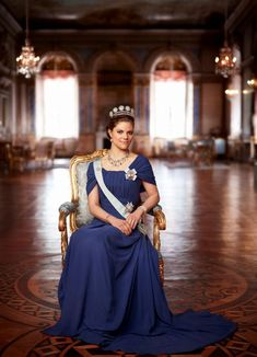 Crown Princess Victoria wearing the six button tiara in a formal portrait photo