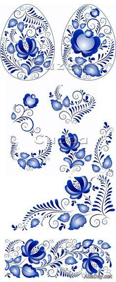 Орнамент гжель, голубая роспись для пасхальных яиц - векторный клипарт без фона