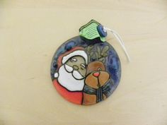 Recycled Fused Glass Hand Painted Christmas Tree Round by Etnochik