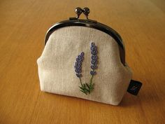 Hand Embroidered Wisteria Kisslock Snap Frame Pouch by yhandmade Embroidery Purse, Ribbon Embroidery, Embroidery Patterns, Lavender Bags, Lavander, Frame Purse, Fabric Gifts, Sewing Art, Tote Pattern