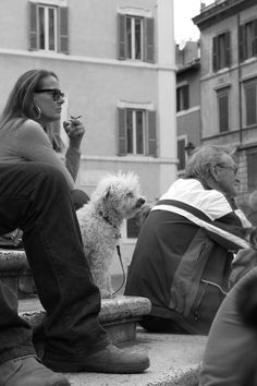 dog and owner in Trastevere