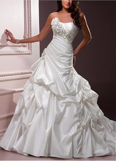 ELEGANT EXQUISITE TAFFETA A-LINE STRAPLESS WEDDING DRESS LACE BRIDESMAID PARTY COCKTAIL GOWN FORMAL BRIDAL PROM CUSTOM