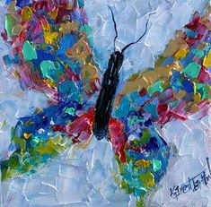 Butterfly painting original oil 6x6 palette knife