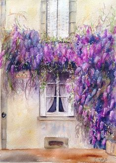 A beautiful scene I found around the corner from where we are in France.  I couldn't resist painting this incredible waterfall of wisteria!