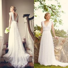 Cheap Wedding Dresses For Sale Sexy V Neck Lace Wedding Dress 2016 Cap Sleeves Open Back Sash Sweep Train 2015 Custom Made Summer Beach Garden Bridal Party Gown Custom Wedding Dress From Whiteone, $121.29| Dhgate.Com