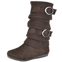 Kids Mid Calf Boots Knitted Calf and Buckle Accent Casual Shoes Brown Girls Footwear, Girls Shoes, Cute Boots, Mid Calf Boots, Casual Shoes, Calves, Little Girls, Brown, Kids