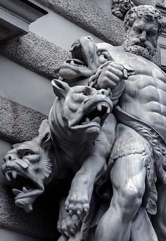 Hercules and Cerberus. The Labor of Hercules was the capture of Cerberus, guardian of Hades -Hofburg palace. Ancient Greek Sculpture, Greek Statues, Ancient Art, Angel Statues, Buddha Statues, Stone Statues, Hercules Statue, Zeus Statue, Statue Tattoo