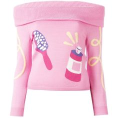 Jeremy Scott grooming intarsia off shoulder jumper ($430) ❤ liked on Polyvore featuring tops, sweaters, jeremy scott, off shoulder jumper, off shoulder sweater, pink off the shoulder sweater and jumper top