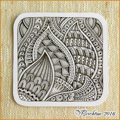 Zentangle tiles 9x9 cm_Zentangle pattern, tangle drawing zentangles, graphic, pattern, tangle, zenart, abstract, design, monochrome, blackandwhite, zentangle inspired, artdrawing, artnet, gelpen, artwork, Zentangle art_Viktoriya Crichton_Ukraine