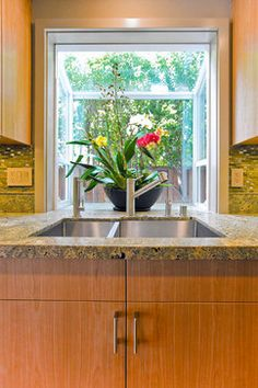 WINDOW Kitchen Sink with Bay Window - tropical - Kitchen - San Francisco - Bill Fry Construction - Wm. H. Fry Const. Co.