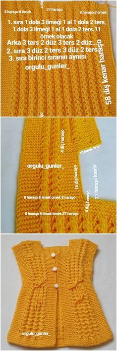 Sarı Yelek Yapılışı Loom Knitting Projects, Knitting For Kids, Baby Knitting Patterns, Hand Knitting, Crochet Patterns, Irish Crochet, Knit Crochet, Crochet Hats, Knit Baby Sweaters