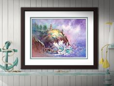 Cape Disappointment Lighthouse - Watercolor PRINT. Pacific Northwest Lighthouse Wall Decor. Lighthouse Painting. Lighthouse Art. Watercolor Landscape, Watercolor Print, Watercolor Paper, Lighthouse Painting, Thing 1, Beach Art, Beautiful Artwork, Fine Art Paper, Giclee Print