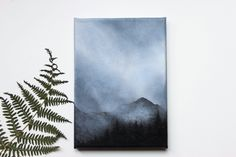 Foggy mountains landscape painting
