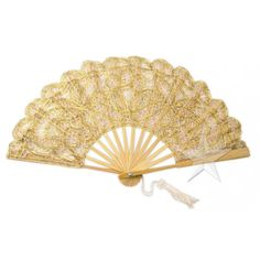 Large Gold Lace Hand Fan