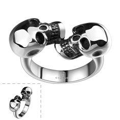 Viking Double Skull Stainless Steel Rings