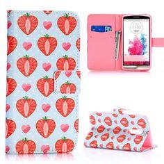 LG Optimus G3 horizonale Flip cover, case, hoesje Strawberry