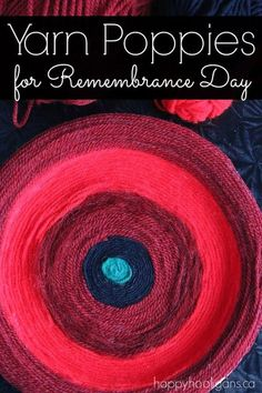 Yarn Poppy Craft for Remembrance Day - Happy Hooligans This yarn poppy craft is relaxing and therapeutic. Great for fine-motor skills, and a lovely quiet activity for home or the classroom this November. Poppy Craft For Kids, Yarn Crafts For Kids, Crafts To Make, Remembrance Day Activities, Remembrance Day Poppy, Happy Hooligans, Peace Crafts, Easy Painting Projects, Art Projects