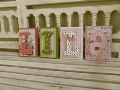 Shabby Chic Custom Name Wall Letters Personalized Child Girls Room Art New Baby Pink Green Flowers Ornate Distressed Vintage.