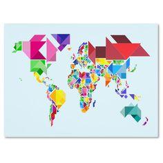 Michael Tompsett 'Tangram Worldmap' Canvas Art by Trademark Fine Art