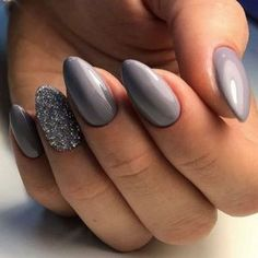 and glitter accent nail art. Light gray matt and glossy volcano neo nailGray and glitter accent nail art. Light gray matt and glossy volcano neo nail 130 trendy matte black nails designs inspirations - page 19 Peach Nails, Gray Nails, Silver Nails, Neon Nails, Matte Nails, Matte Gel, Color Nails, Gel Color, Gorgeous Nails