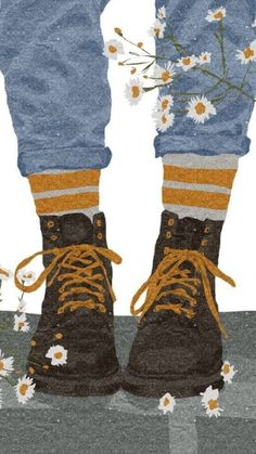 Today I am wearing my daisy roots. 'Daisy roots' is Cockney rhyming slang for ' boots. A phrase well known in London! Art Afro, Illustration Art, Illustrations, Cartoon Wallpaper, Anime Art Girl, Aesthetic Art, Cartoon Art, Cute Drawings, Cute Wallpapers