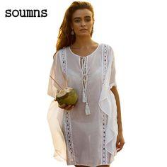 3df551d751ebdd soumns 2017 zomer nieuwe sexy vrouwen strand jurken stijl batwing mouw  sheer wit flyaway kaftan strand dress lc42146-in Dresses from Women s  Clothing ...