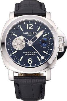 Mens Panerai Luminor GMT Black Dial Watch With Black Leather Bracelet Replica
