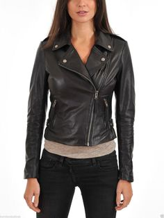 Custom-made Designer Womens 100% Genuine Lambskin Leather Biker Jacket - Black #handmade #biker