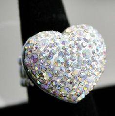 Heart AB rhinestone *rainbow* stretch ring. New!