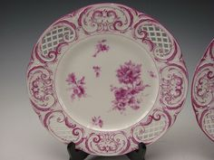 Fantastic 19th century KPM reticulated plates.....they could be used, but are really fantastic for display. Completely hand painted with various