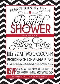 BRIDAL SHOWER INVITATION red and black. $18.00, via Etsy.