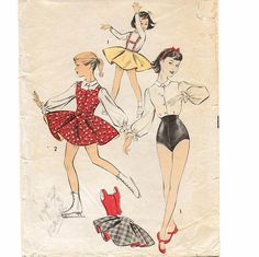 Advance 8385, A Skating/Dance Full Skirt w/Suspenders, Balloon Sleeve Blouse, Ballet Shorts & Weskit Pattern by So Sew Some!