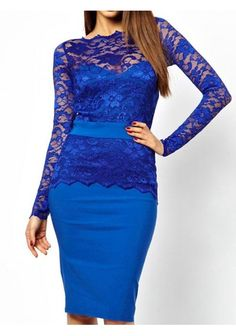 Attractive Full Sleeve Lace Patchwork Sexy Dress Fashion OL Sheath Dress
