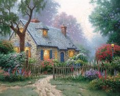 """Are you a Fan of Thomas Kinkade? You'll LOVE the large selection of Thomas Kinkade Cottage Puzzles. These jigsaw puzzles for adults are inspired by the artwork of """"The Painter of Light"""" Thomas Kinkade. Belle Image Nature, Thomas Kinkade Art, Kinkade Paintings, Oil Paintings, Thomas Kincaid, Cottage Wallpaper, Art Thomas, Beautiful Paintings, Modern Paintings"""