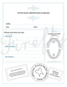 Tooth fairy certificateCertificado del Raton by FireflyCreative, $4.00